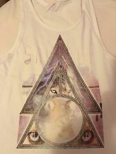 Cotton On medium NWOT white tank top with prism, lightning strikes, wolf