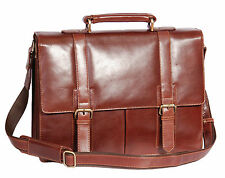 Mens Genuine BROWN Leather Briefcase TOP QUALITY Executive Laptop Office Bag new