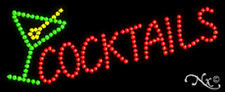 """NEW """"COCKTAILS"""" 27x11 W/LOGO SOLID/ANIMATED LED SIGN W/CUSTOM OPTIONS 20040"""