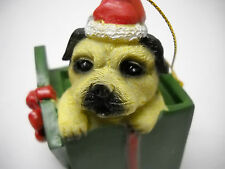 DOG Yorkshire Terrier  PUPPY*Sitting Figure*Santa Hat*Pup ORNAMENT*FREE SHIPPING
