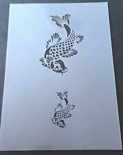 Koi Fish detail Mylar Reusable Stencil Airbrush Painting Art Craft DIY home