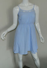 Women 100% Viscose H&M Divided Solid Baby Blue Sleeveless Casual Tea Dress 4