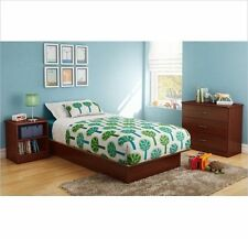 3 Piece Twin Platform Bed Kids Bedroom Set Furniture Cherry Nightstand Chest New