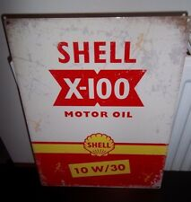 SHELL MOTOR OIL/ X-100, VINTAGE-STYLE METAL SIGN 40X30cm (LARGE) GARAGE/SHED