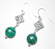 Green MALACHITE Gemstone & Celtic Knot 925 STERLING SILVER Earrings ~ 30mm