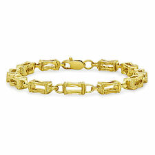 18K Gold Filled Stylish Italian Smooth Diamond Cut Cage Link Bracelet 7In