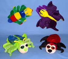 PLUSH BUG HAND PUPPETS;GRASSHOPPER;RED ANT;CATERPILLAR;BUTTERFLY;INSECTS;LOT-4