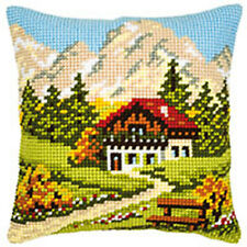 "Mountain Scene chunky cross stitch cushion front kit 16x16"" tapestry canvas"
