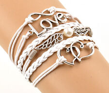 Punk Style Multilayer Braid Leather Bracelet Handmade Wing Love Charm Bracelet