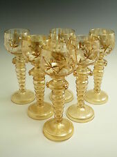 FRITZ HECKERT Roemer - Antique Gilded - Set of 6 Hock Wine Glasses