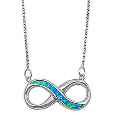 "Beautiful Plain & Blue Opal Infinity  .925 Sterling Silver Pendant Necklace 16""+"
