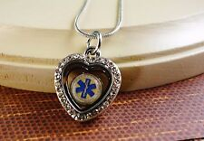 EMT MEDICAL FLOATING CHARM ON HEART GLASS LOCKET W/ SILVER CHAIN GIFT NECKLACE