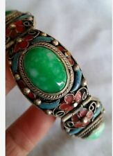 Fine China group you hand catenary Tibetan silver inlaid jade bracelet