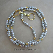 Handcrafted silver grey pearl gold beaded lanyard ID badge key holder 32 inches