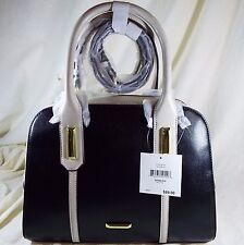 Anne Klein Show Off Black & White Faux Leather Satchel Shoulder Bag - NWT