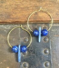 Handmade Summer Earrings Kyanite Frosted Blue Lapis Lazuli Gold Plated Hoop Boho