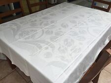 STUNNING Double Damask Tablecloth, Rectangle, 88X105, Tulips, Monogrammed (RF373