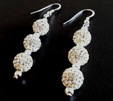 SHAMBALLA CLEAR WHITE DROP EARRINGS WITH 3 CLAY CZECH CRYSTAL DISCO BEAD-UK SELL