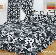 DOUBLE BED CAMOUFLAGE BLACK DUVET COVER SET ARMY MILITARY PRINT WHITE GREY