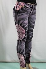 100%AUTHENTIC NEW WOMENS ROBIN'S JEAN SZ 30 JANE SKINNY PURPLE & Pink Multicolor