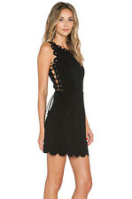 Lavish Alice Womens Scallop Lace Up Mini Dress Size 8 BNWT RRP £66 Black