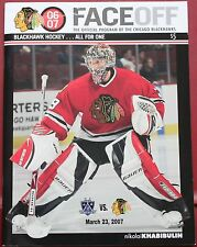 2007 Chicago Blackhawks Los Angeles Kings Program Nikolai Khabibulin Cover
