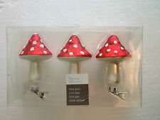 Christmas Decoration -Boxed 3 Hanging Real glass mushroom Baubles ornament