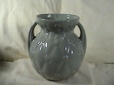 Vintage Shawnee USA Grey Quilted Vase With Daisey's Double Handles # 827