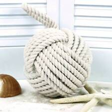 "Nautical Monkey's Fist Knot Doorstop Large 6.5"" Bookend Coastal Decor Rope"