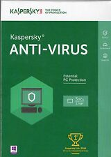 KASPERSKY Anti-Virus 2016 Protection for 3 PCs for 1 Year BRAND NEW & SEALED NWT