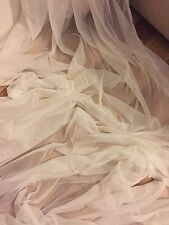 "1 MTR SOFT IVORY TULLE STUDDED BRIDAL/DECORATION NET FABRIC..45"" WIDE (NEW)"