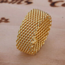 hot! wholesale sterling solid silver gold plated mesh ring size 8+box SFSR064