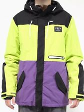 NEFF Mens Trifecta 2 Jacket Snowboard Resistant Extra Large XL Lime Purple Ski
