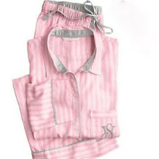 VICTORIA'S SECRET SOFT THE DREAMER FLANNEL PAJAMA SET ICONIC STRIPED PINK L / XL