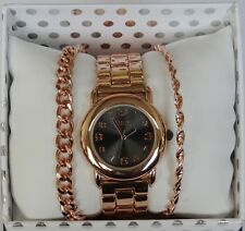 NIB Women's Folio Rose Gold/Black Wrist Watch w/ Bracelets Gift Set SALE