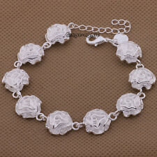 GPE High Quality Fashion Rose Flower Style 925 Sterling Silver Bangle Bracelet