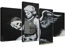 Banksy Canvas Wall Art - Ozones Angel Black and White for your Home