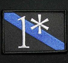 1* ONE ASS TO RISK ASTERISK POLICE MORALE TACTICAL THIN BLUE LINE IRON ON PATCH