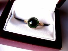 ANTIQUE 18K YELLOW GOLD/PLATINUM RING with NATURAL GREEN TOURMALINE