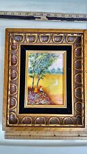 """ENAMEL ON COPPER LUCEY SIGNED PAINTING  BOY FISHING GOLD TONE FRAME 9"""" X 11"""""""