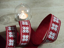 Christmas Red & White Snowflake Country Wired Ribbon Cake Decorations Wreaths 1m