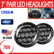 "Pair 7"" Cree LED Projector Headlight Round Shaped DRL Hi Lo Beam Jeep Wrangler"