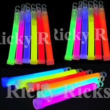 "100 Fat Glow Sticks Necklaces Thick Bright Assorted Neon Colors Raves 6"" 10MM"