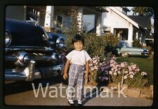 1961 Kodachrome Photo slide Young Girl in front yard by car automobile Oregon