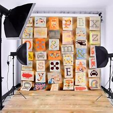 3x5ft Baby Wall Wooden Letter Vinyl Photography Backdrop Background Studio Props