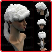 WHITE UNISEX LAWYER BARRISTER COURT JUDGE ROYAL NOBLE WIG-VAMPIRE-PARTY-COSTUME