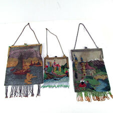 Lot of 3 Antique Scenic Beaded Purses Bags