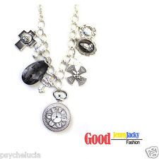 Fashion Chic Sparkly Crystal Sliver Party Necklace Multi-Pendants