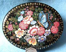 Russe Kholui PEINT À LA MAIN LAQUE Boîte Beau Fleurs & Butterfly ORLOVA CADEAU