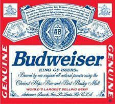 "Budweiser Beer Drink Bumper Sticker 5"" x 4"""